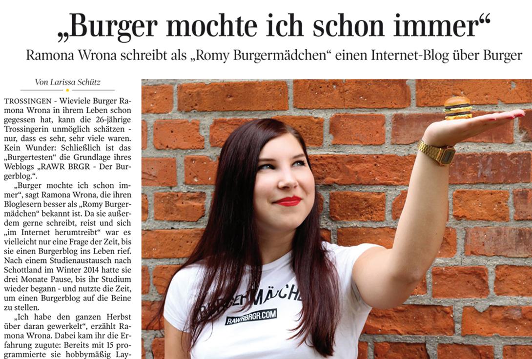 Das Burgermädchen in der Schwäbischen Zeitung